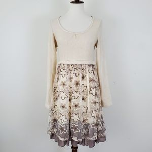 A'reve Floral Embroidered Sweater Dress Anthro
